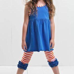 Ruffle Girl Matching Sets - Ruffle Girl Blue & Orange Ruffle Legging Capri Set
